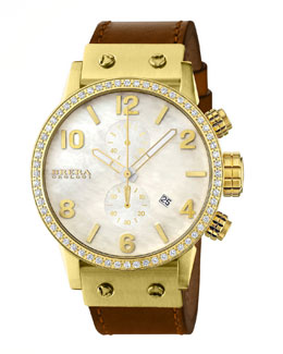 Brera Isabella Diamond Gold Timepiece & Brown Rubber Strap