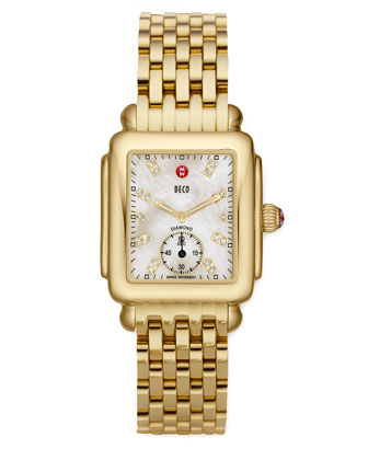 Deco 16 Gold-Plate Watch, White Diamond Dial