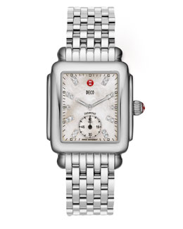 MICHELE Deco 16 Stainless Watch, White Diamond Dial
