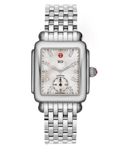 Deco 16 Stainless Watch, White Diamond Dial