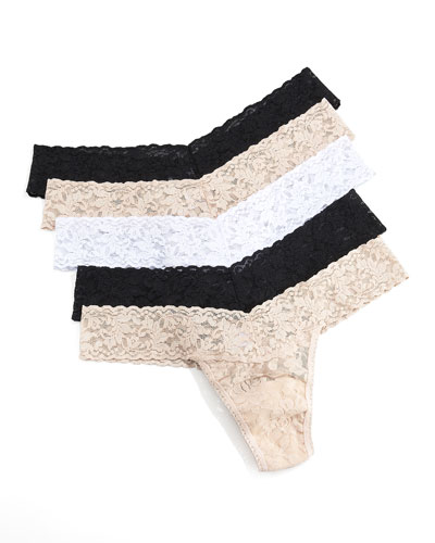 Hanky Panky Five-Pack Thongs, Basic Colors