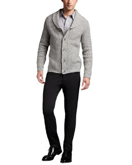 Theory Shawl-Collar Cardigan & Straight-Leg Twill Pants