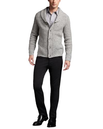 Theory Shawl-Collar Cardigan & Straight-Leg Twill Pants