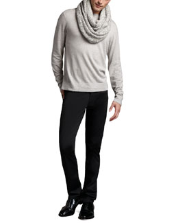 Theory Merino Crewneck Sweater & Straight-Leg Twill Pants