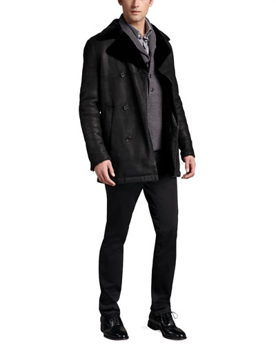 Theory Double-Breasted Shearling Coat, Shawl-Collar Sweater & Straight-Leg Twill Pants