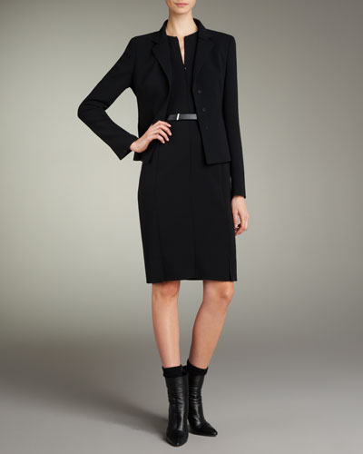 Short Evening Jacket, Zip-Front Double-Face Dress & Leather Belt