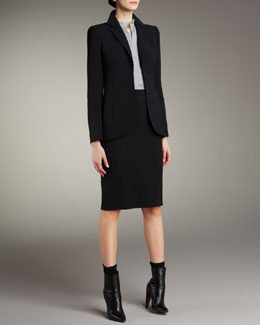 Akris Hook-and-Eye Jacket, Mandarin Collar Poplin Blouse & Double-Face Pencil Skirt