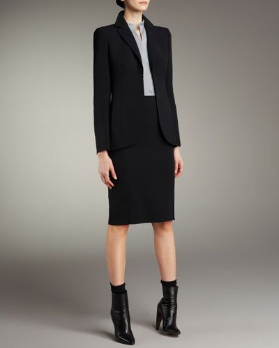Hook-and-Eye Jacket, Mandarin Collar Poplin Blouse & Double-Face Pencil Skirt
