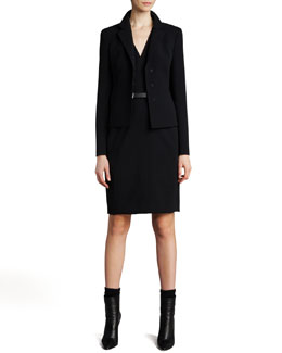 Akris Short Evening Jacket & Sleeveless V-Neck Dress