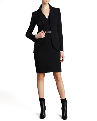 Akris Hook-and-Eye Jacket, Sleeveless V-Neck Dress & Silver Banded Leather Belt