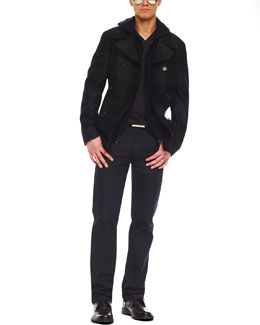 Michael Kors  Striped Melton Peacoat, Full Zip Hoodie, Liquid Jersey Tee & Modern-Fit Dark Rinse Jeans