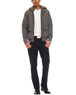 Michael Kors  Rabbit Fur-Lined Hooded Jacket, Liquid Jersey V-Neck Tee & Modern-Fit Dark Rinse Jeans