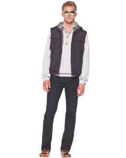 Michael Kors Fur-Lined Hooded Vest, Button/Zip Sweater & Modern-Fit Stretch Jeans