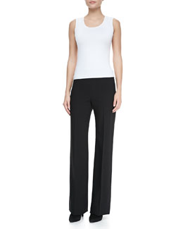 Armani Collezioni Sleeveless Stretch-Jersey Top Top & Wide-Leg Crepe Pants