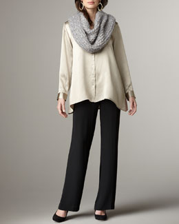 Eileen Fisher Infinity Wrap, Hammered Silk Blouse, Stretch-Silk Shell & Straight-Leg Georgette Pants