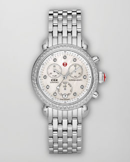 Michele Diamond-Bezel Watch Head & Bracelet Strap