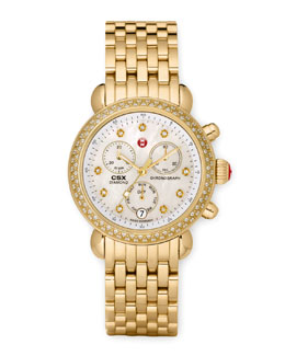 MICHELE CSX 36 Diamond-Bezel Watch & Gold Bracelet Strap