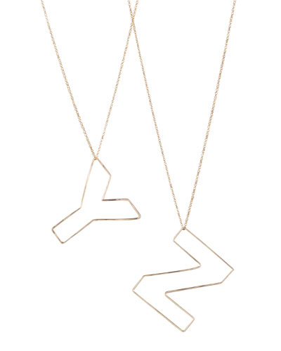 GaugeNYC Letter-Pendant Necklaces, Y-Z