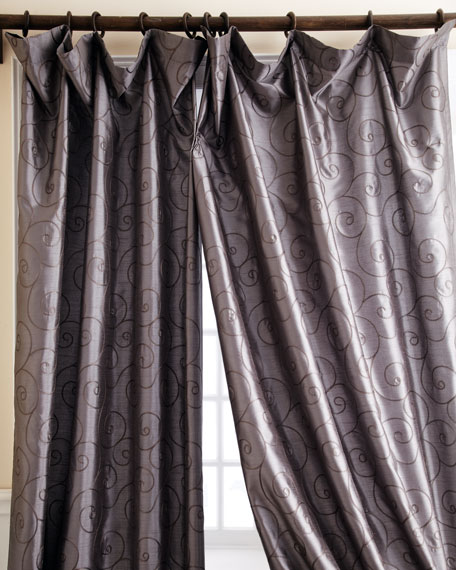 "Each 55""W x 96""L Valencia Scroll Curtain"