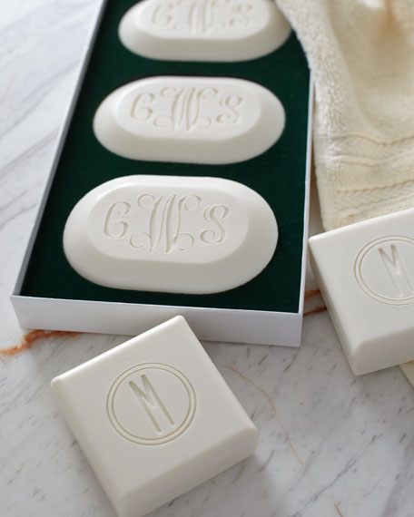 Three Oval Soaps with Three Script Initials