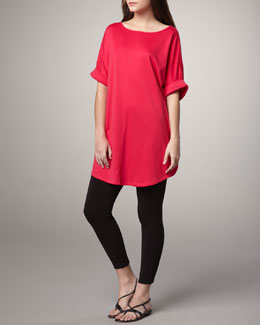 Joan Vass Rolled-Sleeve Tunic & Cropped Stretch Leggings, Petite