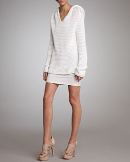 T by Alexander Wang Open-Knit Hooded Sweater & Formfitting Tank Dress