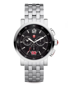 MICHELE Large Sport Sail Stainless Steel Watch, Black