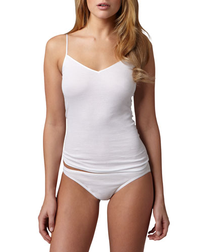 Hanro Cotton Seamless Camisole & High-Cut Briefs, White