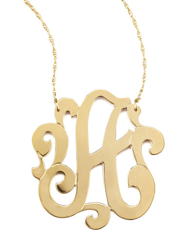 Jennifer Zeuner Swirly Initial Necklace