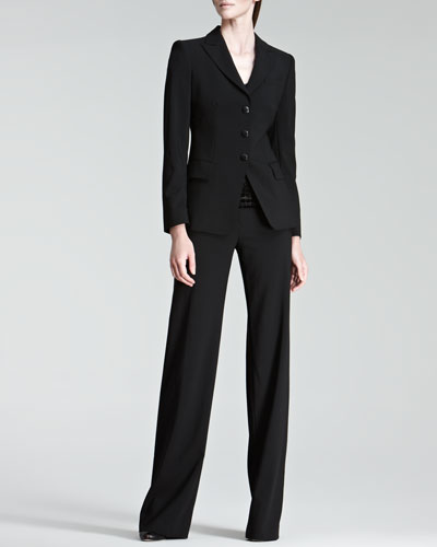 Armani Collezioni Three-Button Jacket, Glittered Cobblestone Tee & Classic Straight-Leg Pants