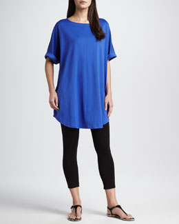 Joan Vass Rolled-Sleeve Tunic & Stretch Leggings, Petite