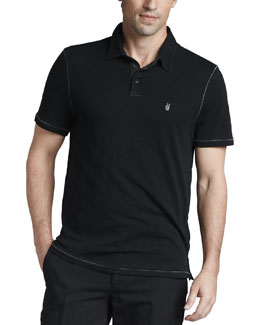 John Varvatos Star USA Pickstitched Slub Polo
