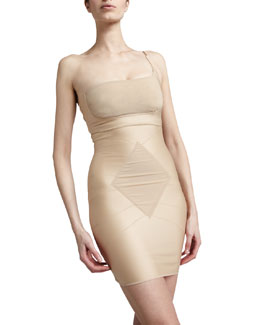 dMondaine Ava One-Shoulder Bra & Grace Strapless Slip, Nude