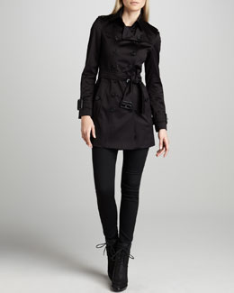 Burberry London Sateen Trenchcoat & Rinsed Black Jeans