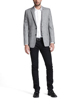 Versace Collection Houndstooth Jacket, Basic Woven Shirt & Slim Black Jeans