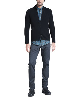 Theory Mock-Neck Zip Sweater, Plaid Sport Shirt & Slim Twill Pants