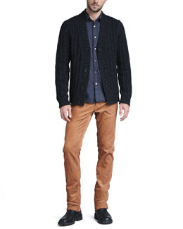 Theory Wide-Rib Cardigan, Soft-Wash Chambray Shirt & Slim Corduroy Pants
