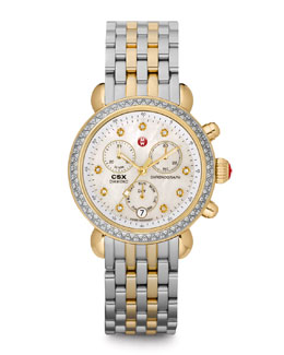 MICHELE CSX 36 Diamond-Bezel Watch & Two-Tone Bracelet Strap