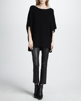 Vince Poncho-Style Sweater & Leather Cropped Leggings
