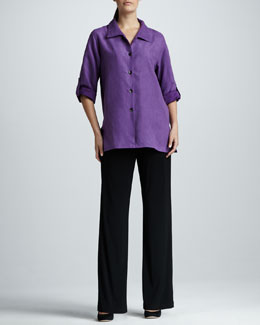 Caroline Rose Suede Big Shirt & Stretch-Knit Pants, Petite