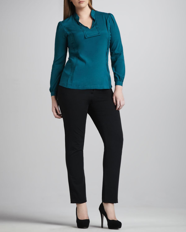 Reema Stretch-Silk Blouse & Twiggy Slim Pants, Women's