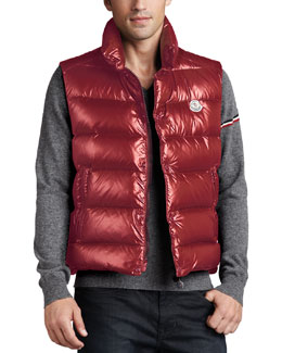 Moncler Tib Puffer Vest & V-Neck Wool Sweater
