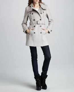 Burberry Brit Wool-Blend Trenchcoat & Skinny Dark Jeans