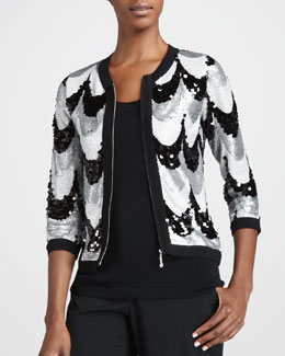 Michael Simon Sequined Scallop Jacket & Sleeveless Knit Shell, Petite