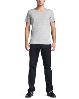 Theory Wide-Neck Tee & Slim Five-Pocket Pants