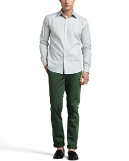 Theory Check Sport Shirt & Slim Four-Pocket Pants
