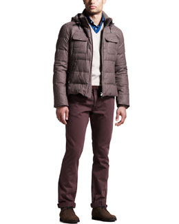 Brunello Cucinelli Down-Fill Parka, Two-Ply V-Neck Sweater & Five-Pocket Pants