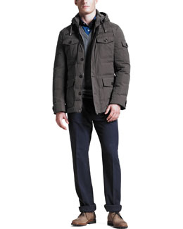 Brunello Cucinelli Helicopter Down-Fill Jacket, Two-Ply V-Neck Sweater & Five-Pocket Flannel Pants