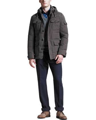 Helicopter Down-Fill Jacket, Two-Ply V-Neck Sweater & Five-Pocket Flannel Pants