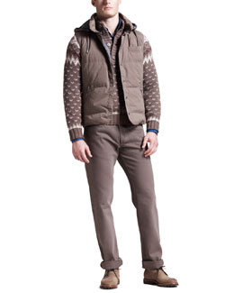 Brunello Cucinelli Hooded Vest, Snow-Print Sweater, Chambray Shirt & Five-Pocket Pants
